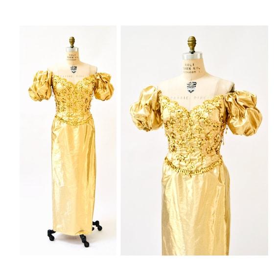 Gold Metallic 80's Prom Dress Evening Gown Medium