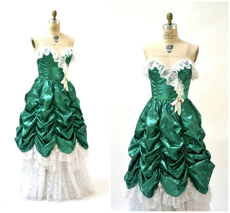 12d302eb7fc Vintage 80s Prom Dress Ball Gown XS Small Metallic Green St