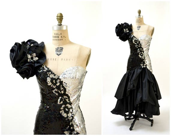 Vintage 80er Jahre Prom Kleid kleine Schwarz Silber Alyce | Etsy
