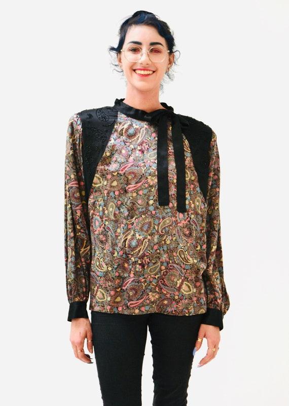 80s Vintage Paisley Print Silk Shirt Blouse Mediu… - image 5