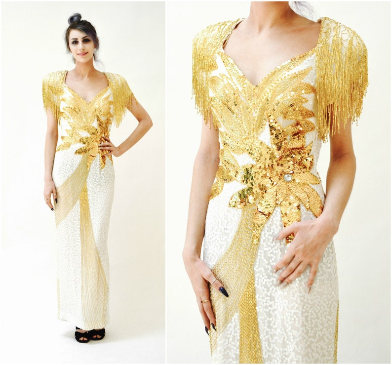 Vintage White and Gold Sequin Gown Dress Fringe Small Medium   80s Gold  White Be... Vintage White and Gold Sequin Gown Dress Fringe Small Medium    80s Gold ... deae657ab