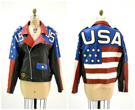 Vintage pour homme noir en cuir veste moto USA drapeau   Etsy 99d7c307cd2