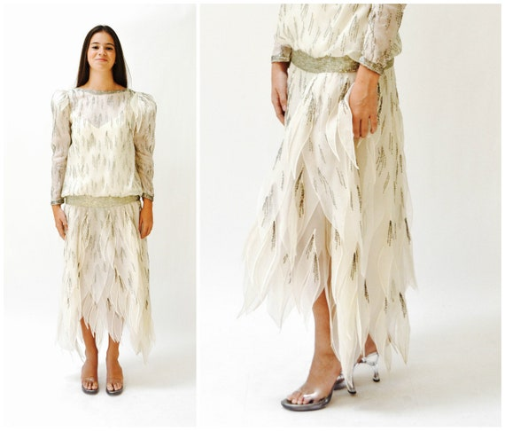 80s does 20s Vintage Beaded Dress Silk Cream Off W
