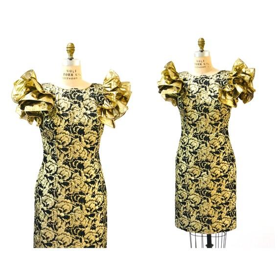 Vintage 80s Prom Dress Medium Large Metallic Black