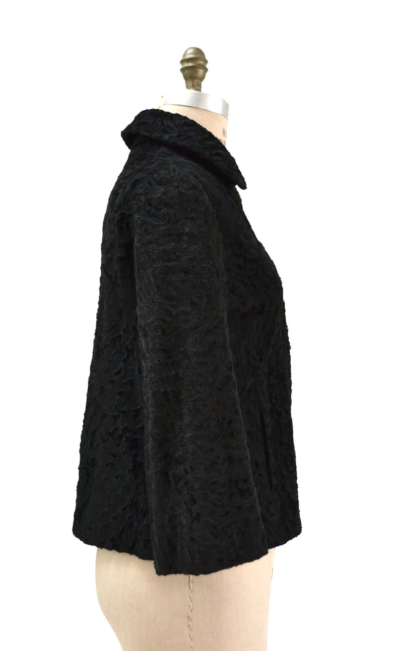 50s 60s Vintage Black Fur Jacket Persian Lamb Size Small Vintage Black Persian Lamb Fur Cropped Jacket Size Small