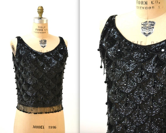 50s 60s Vintage Black Sequin Tank Top Shell Size L