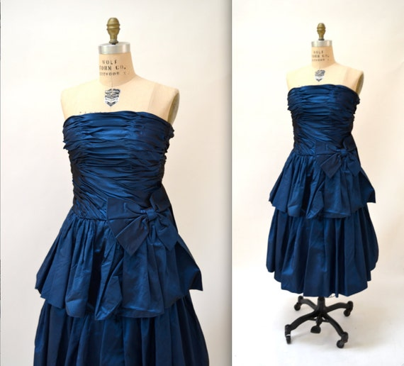 Vintage 80s Prom Dress Size XS Metallic Blue// 80s