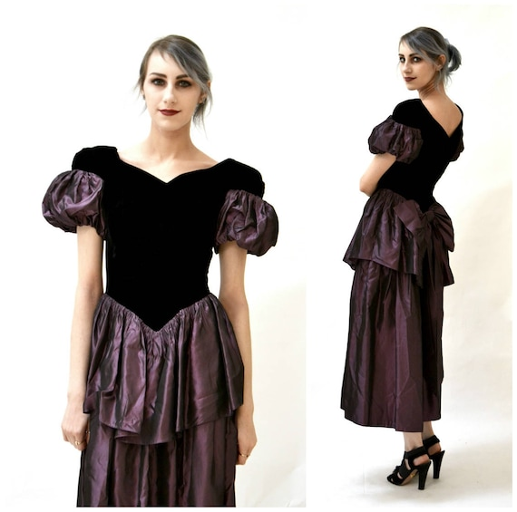 b69a315e8b Vintage 80s Prom Dress Size XS Small Velvet Taffeta Purple