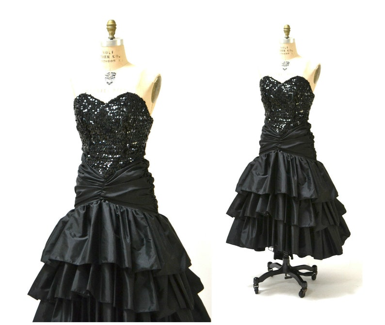 95839869576 Vintage 80s Prom Dress Black Sequin Dress Evening Gown 80s