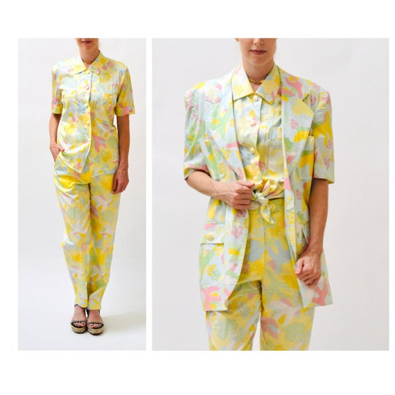 90s Vintage Printed Suit By ESCADA Yellow Blue Ja… - image 2
