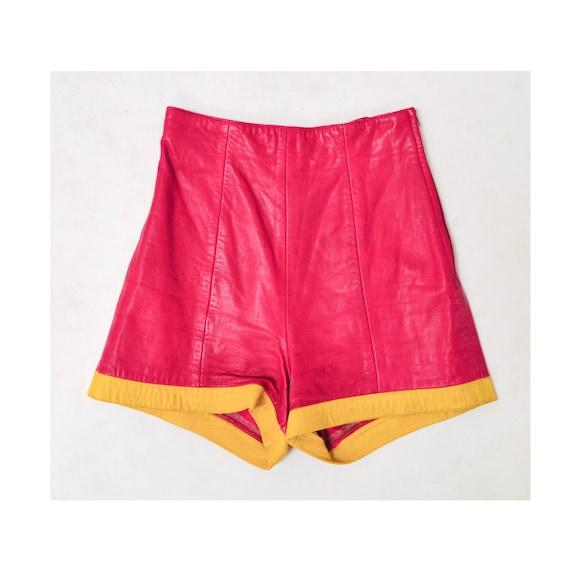 Vintage Pink Leather Shorts Hot Pants Leather Sho… - image 4
