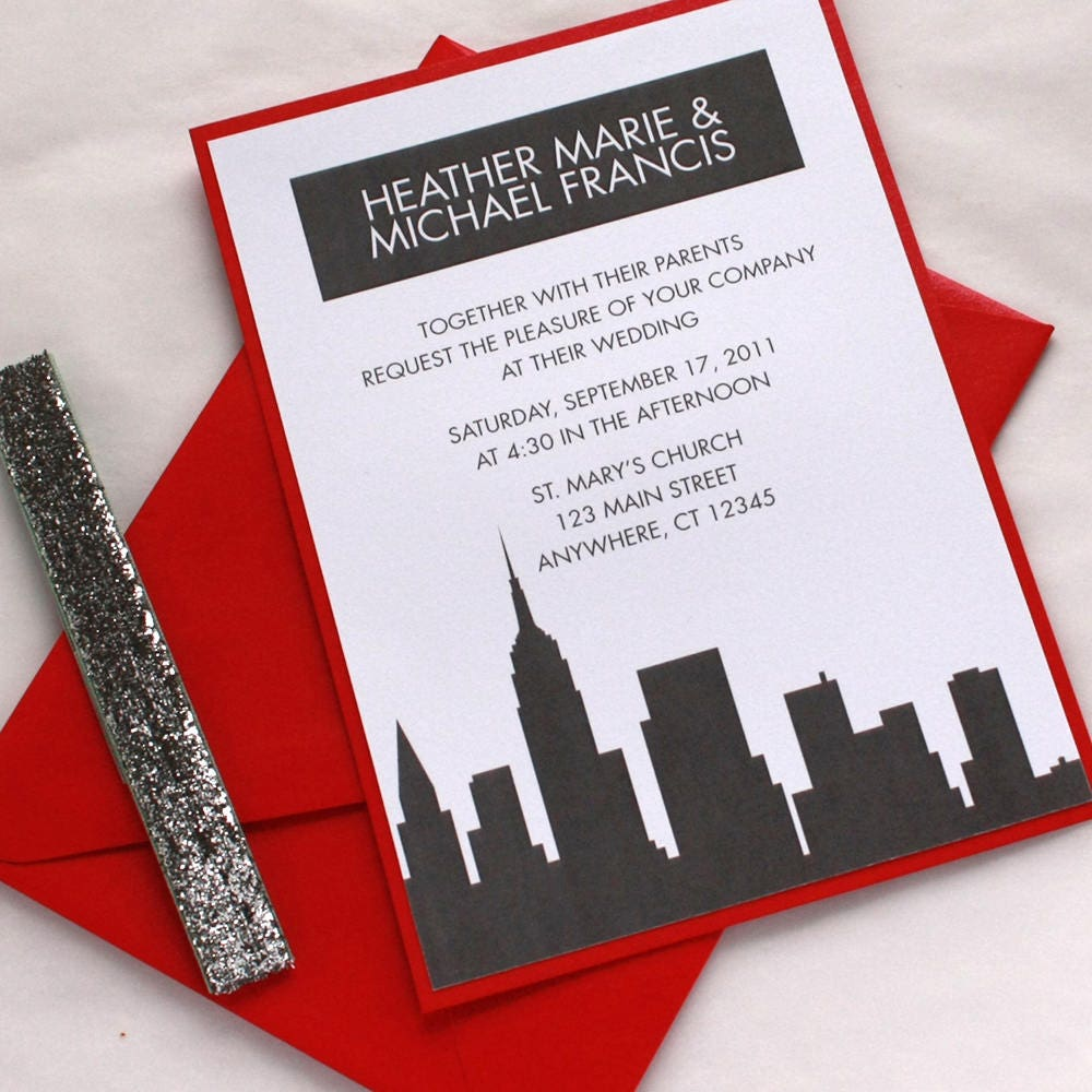 Handmade Detroit Skyline Wedding Invitations By Lano: New York Wedding Invitation City Skyline Custom Invitation