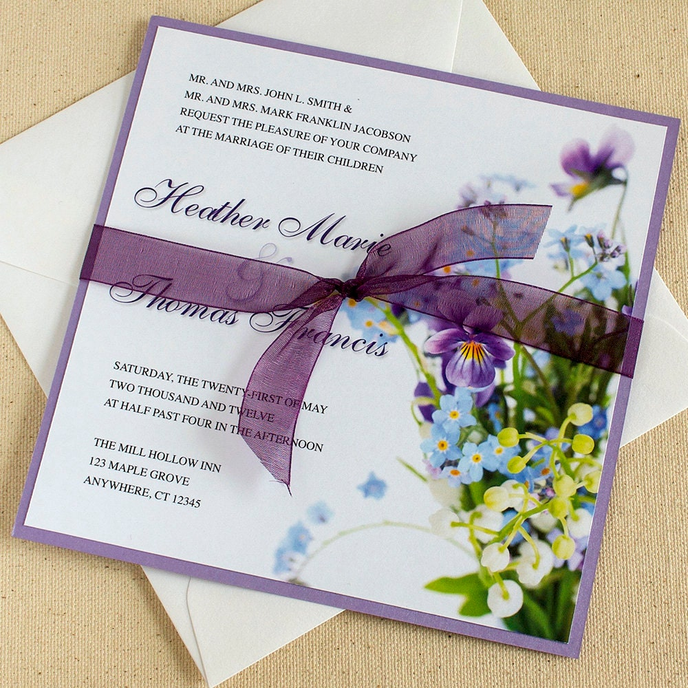 Wild Flowers For Wedding: Wild Flower Wedding Invitation Spring Flowers Wedding