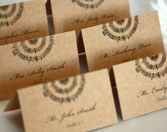 Music Place Cards. Wedding Escort Cards. Music Notes. DEPOSIT.