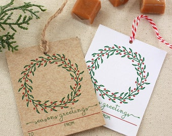 Holiday hostess tags etsy wreath holiday gift tags gift tags christmas gift tags seasons greetings gift tag m4hsunfo