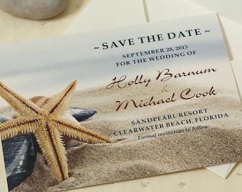 Starfish Save The Date. Beach Wedding. Destination Wedding. DEPOSIT