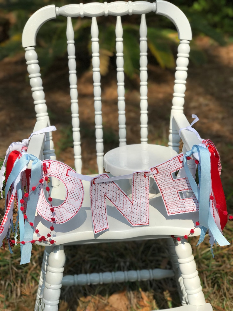 ONE Red Bitty Dot Banner with ribbons