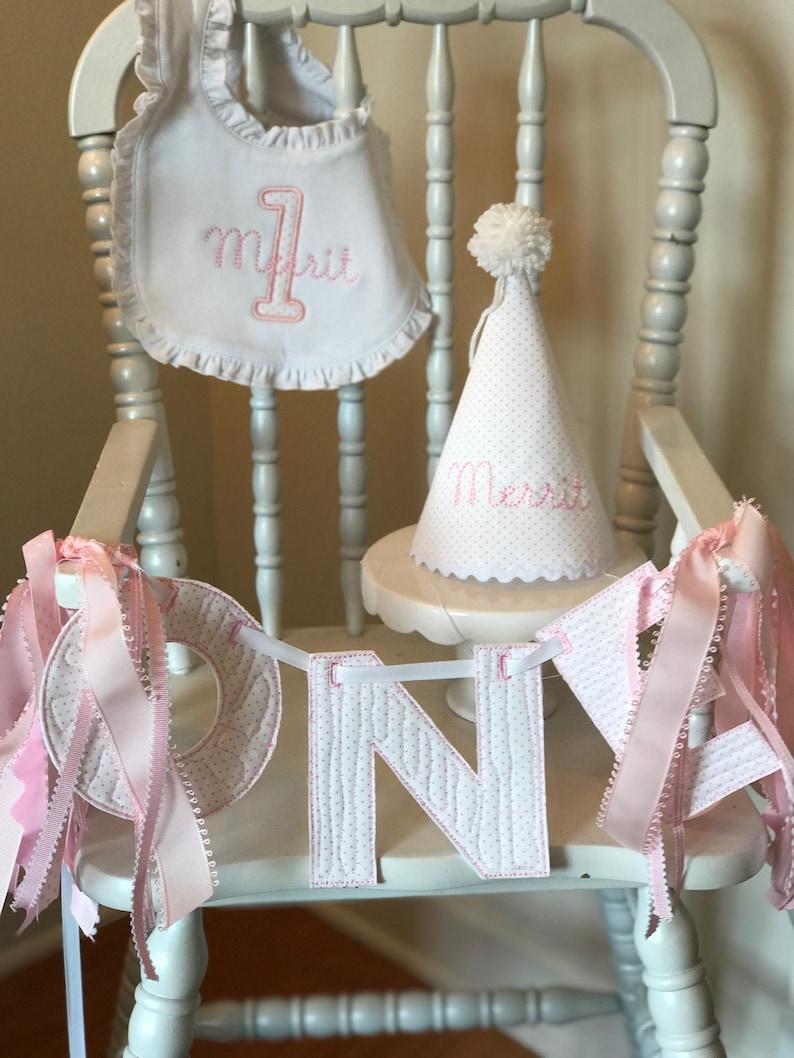 Pink Bitty Dot First Birthday Set with Appliqu\u00e9 /& Embroidered Bib
