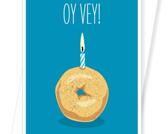 Funny Birthday Card Greeting Jewish OY VEY BAGEL