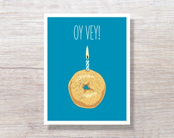 Funny Birthday Card Greeting Jewish OY VEY BAGEL