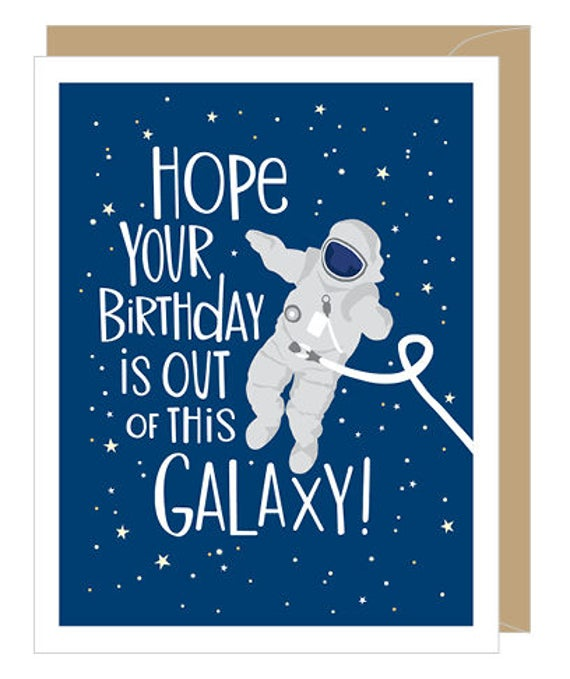 Outer Space Birthday Card Birthday Greeting Card For Him Etsy