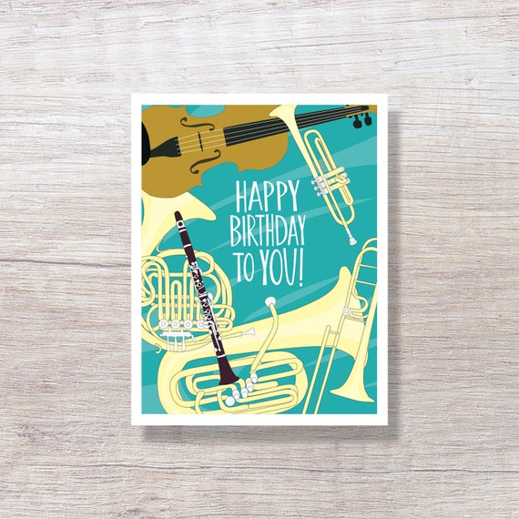 MUSICAL INSTRUMENTS Happy Birthday Card Illustrated Greeting