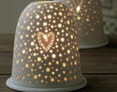 Small white Valentines hand pierced porcelain ceramic tea light candle holder with heart detail. Hand made Stoneware. Nightlight.