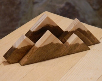 Mountain Range Snow Capped Wood Business Card Display Holder, Rustic - Mountain Series - The Summit