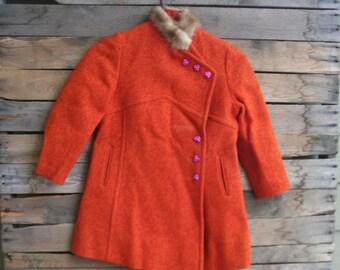 SUPER SALE - Vintage Orange Wool Tweed  Coat with Fuchsia Flower Buttons & Mink Collar by Gastworth