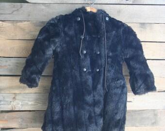 SUPER SALE  - Vintage Black Faux Fur Children's Coat Size 4 - Union Made