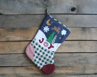 "Vintage Country Themed ""Joy"" Christmas Stocking"
