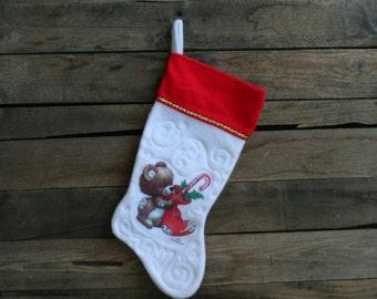 Vintage Green, Red & White Christmas Bear Christmas Stocking