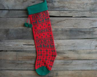 "Vintage Red & Green ""Noel"" Christmas Tree Knit Christmas Stocking"