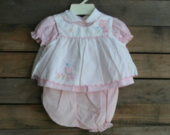 SUPER SALE - Vintage Pink & White Children's Teddy Bear Dress with Bloomers Size 6-9 Months