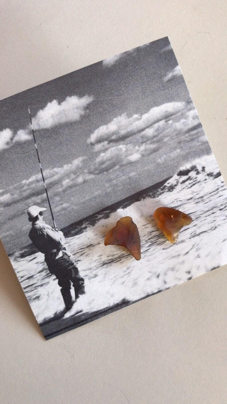 Wrightsville Beach Brown Sea Glass Earrings image 0