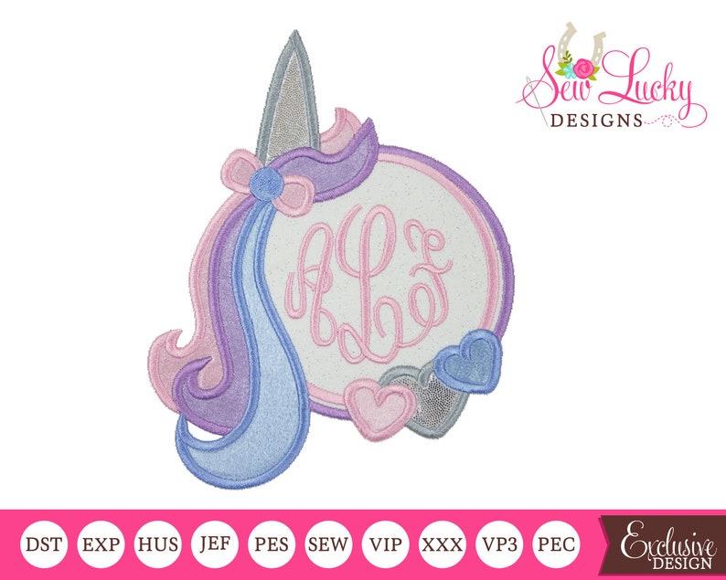 Unicorn Monogram Frame Applique Design  machine embroidery image 0
