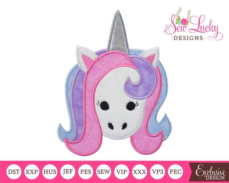 Unicorn Head Applique Design  machine embroidery design image 0