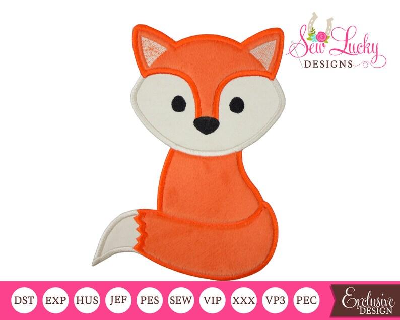 Boy Fox Applique Design Machine embroidery design image 0