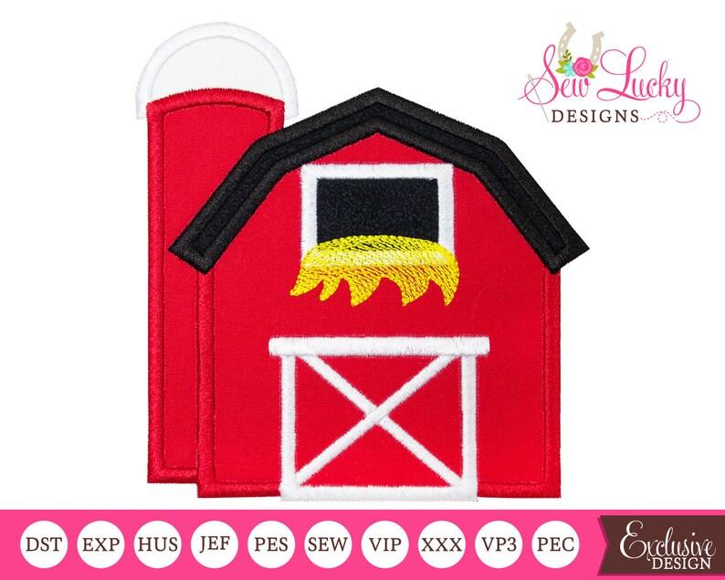 Barn with silo Farm Applique Design  Machine embroidery image 0