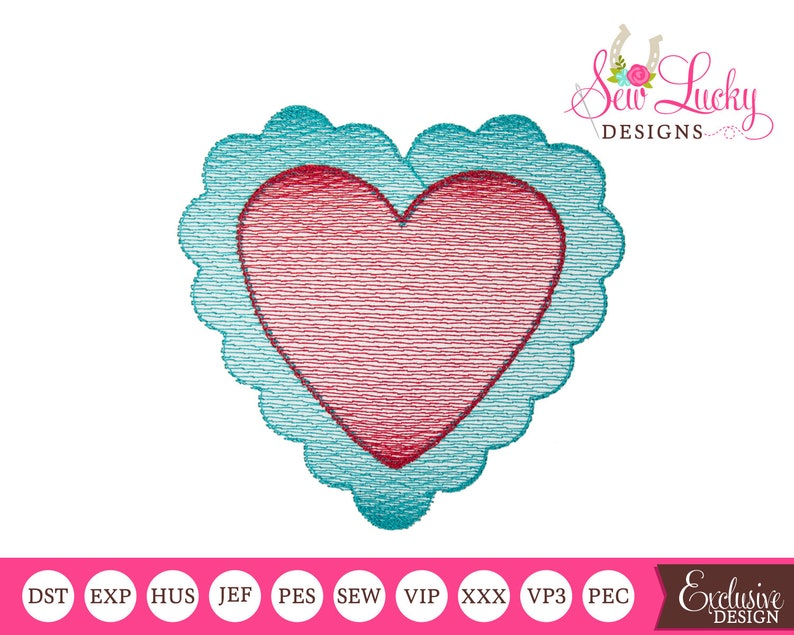 Scallop Heart Sketch Design  machine embroidery design that image 0