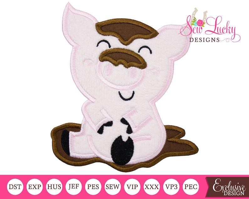 Pig in mud Farm Applique Design  Machine embroidery design image 0