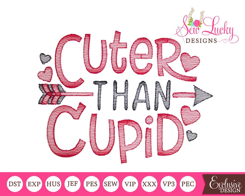 Cuter Than Cupid Sketch Design  machine embroidery design image 0