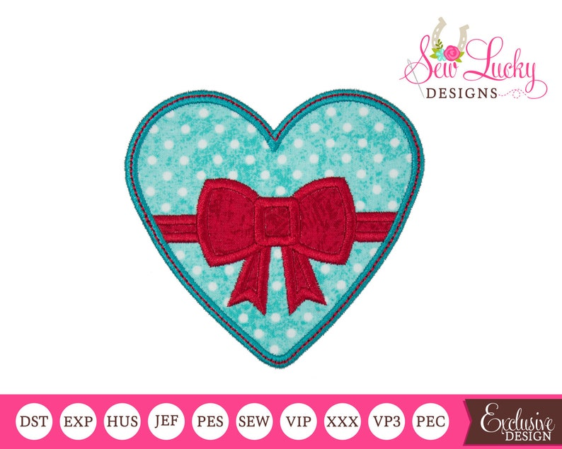 Valentine Heart With Bow Applique Design  machine embroidery image 0