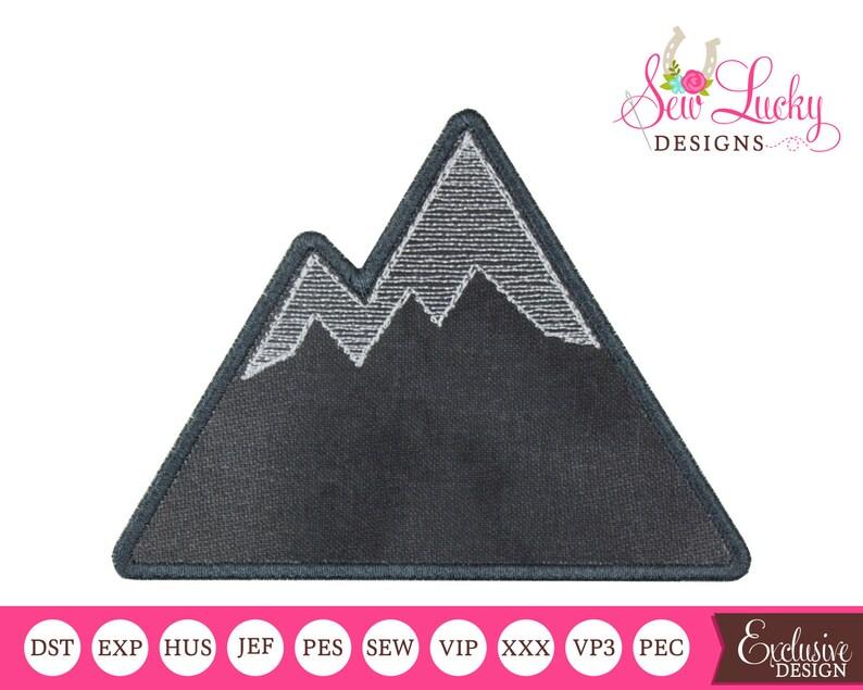Woodland Mountain Applique Design  machine embroidery design image 0