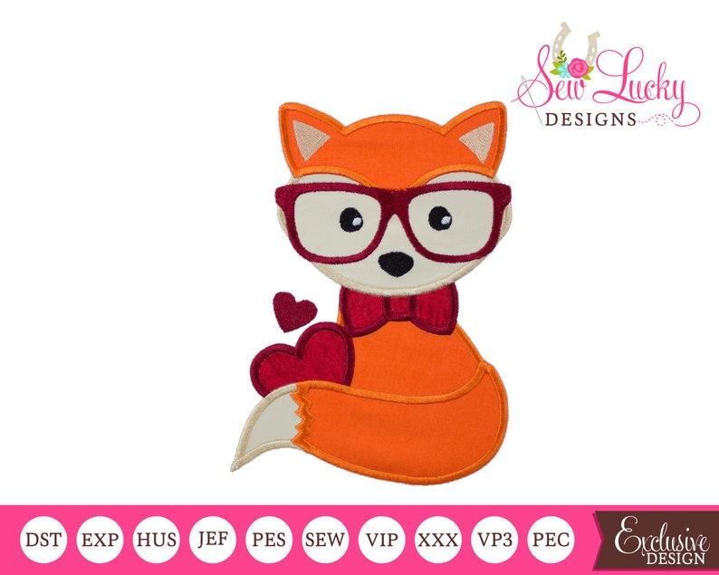 Boy Valentine Fox Applique Design  machine embroidery design image 0