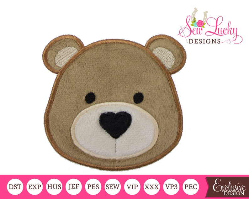 Teddy Bear Applique Design with heart nose  machine image 0