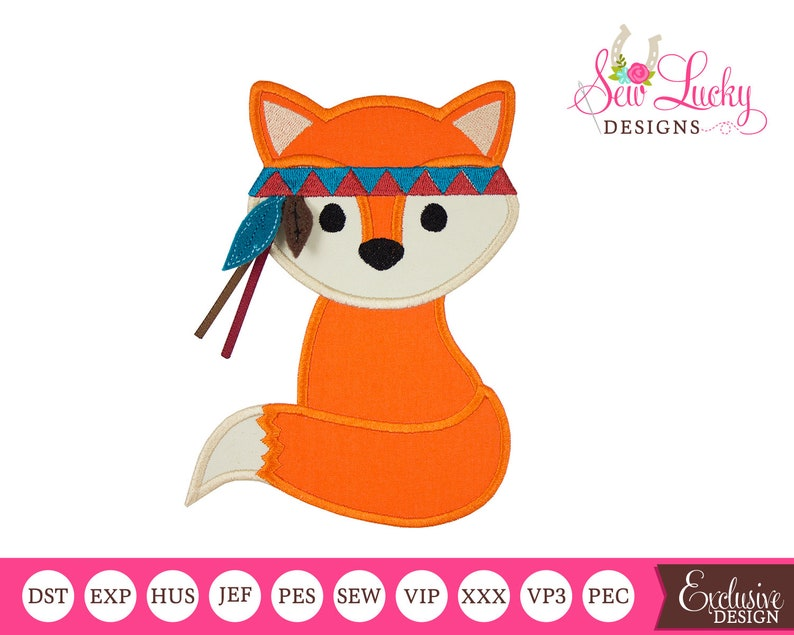 Boy Fox with Feathers Applique Design Machine embroidery image 0