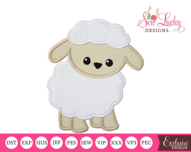 Spring lamb Applique Design  Machine embroidery design image 0