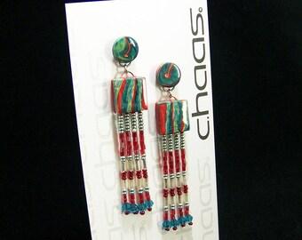 Red and teal bead tassel earrings