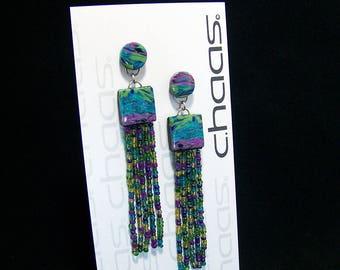 Purple, blue and green bead tassel earrings